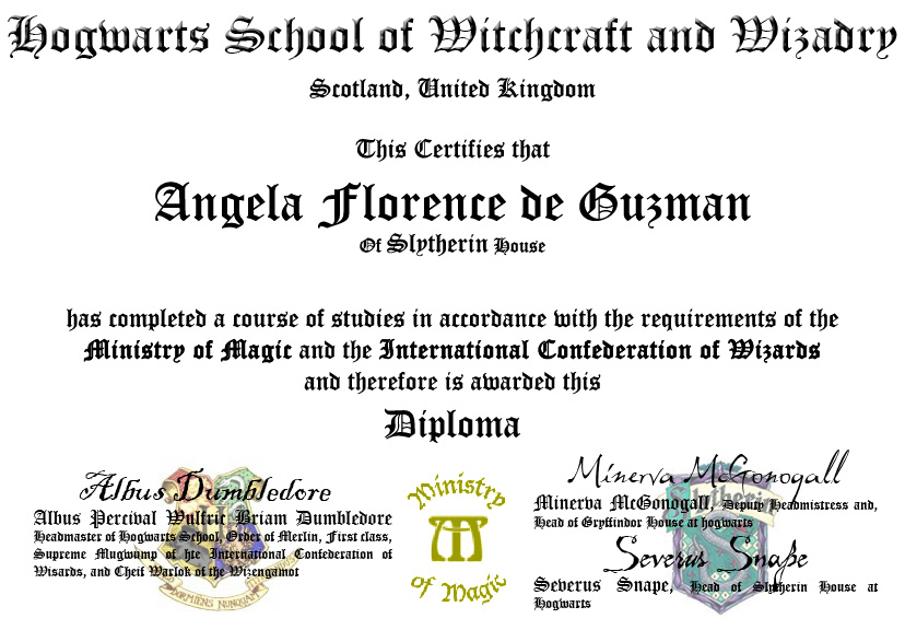 My hogwarts diploma by kitana82483 on deviantart for Hogwarts diploma