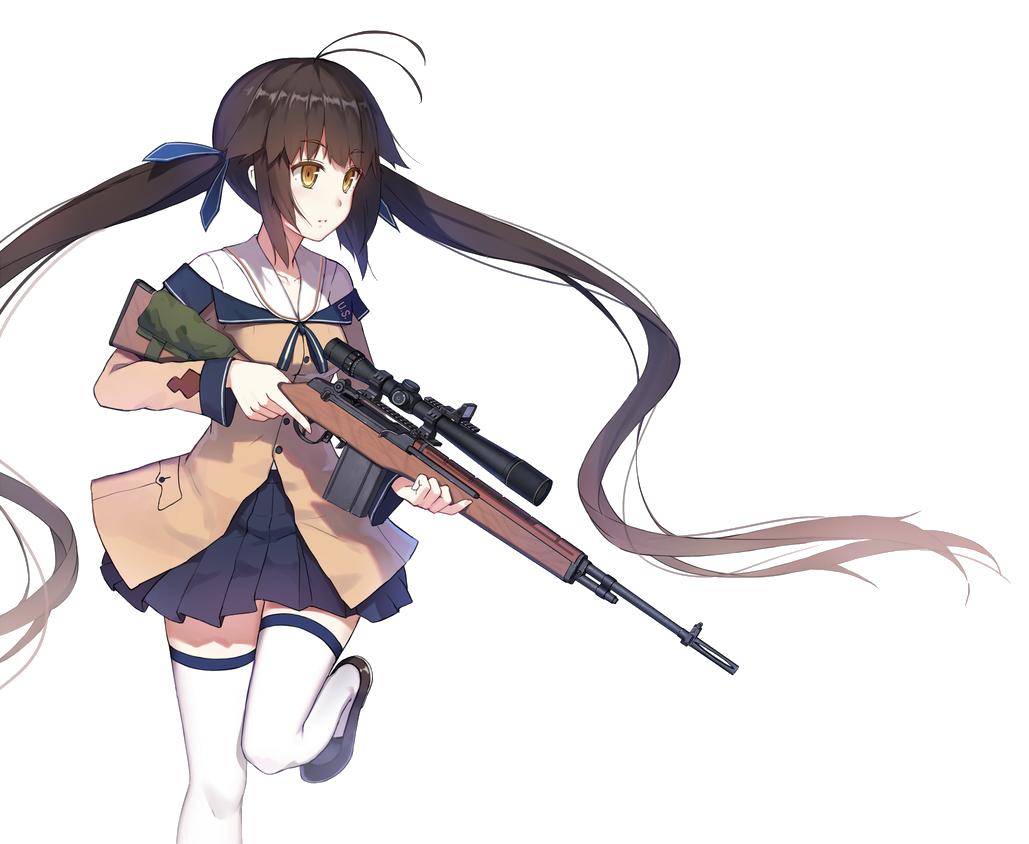 Картинки девушки аниме с пистолетом