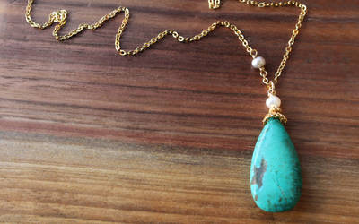 Turquoise Teardrop Necklace by OhKuol