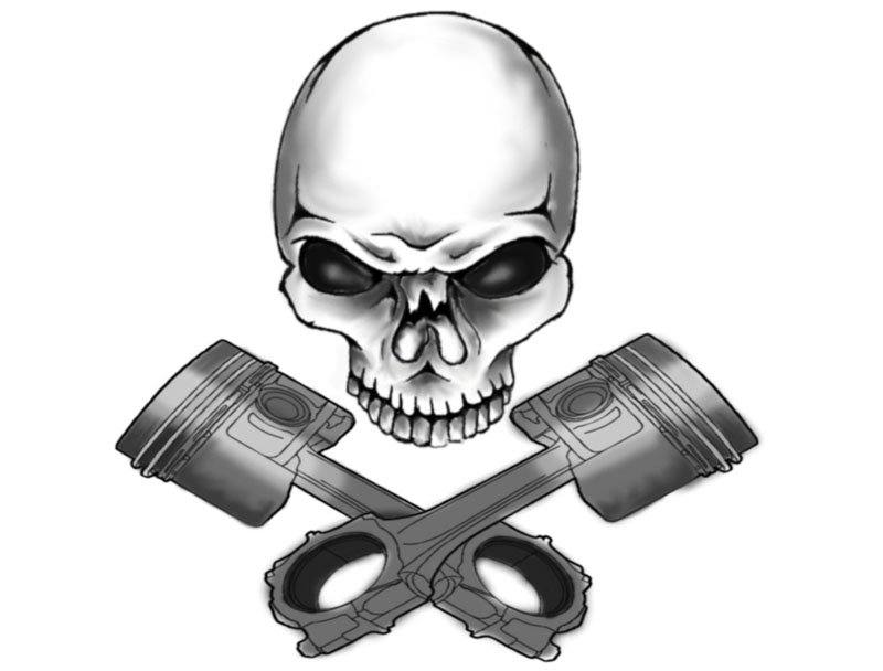 Skull Piston Drawing Skull And Piston Logo by