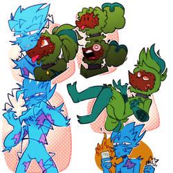 Mr.Blue and Pinneaple man Doodle Dump