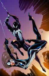 Symbiote Spidey And SpiderGirl by J.Scott Campbell