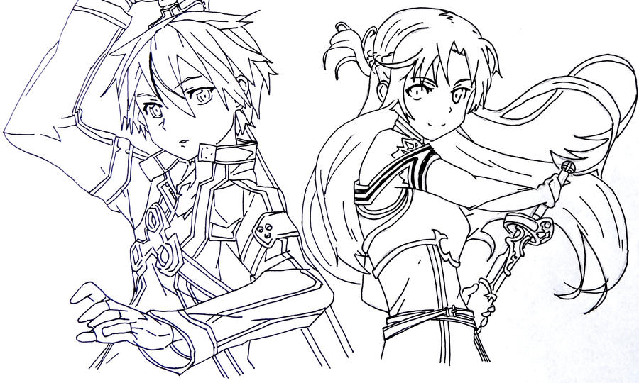 Kirito and asuna by hitsuchan11 on deviantart for Sword art online coloring pages