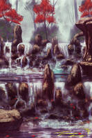 The falls of ancient forests by RavenseyeTravisLacey
