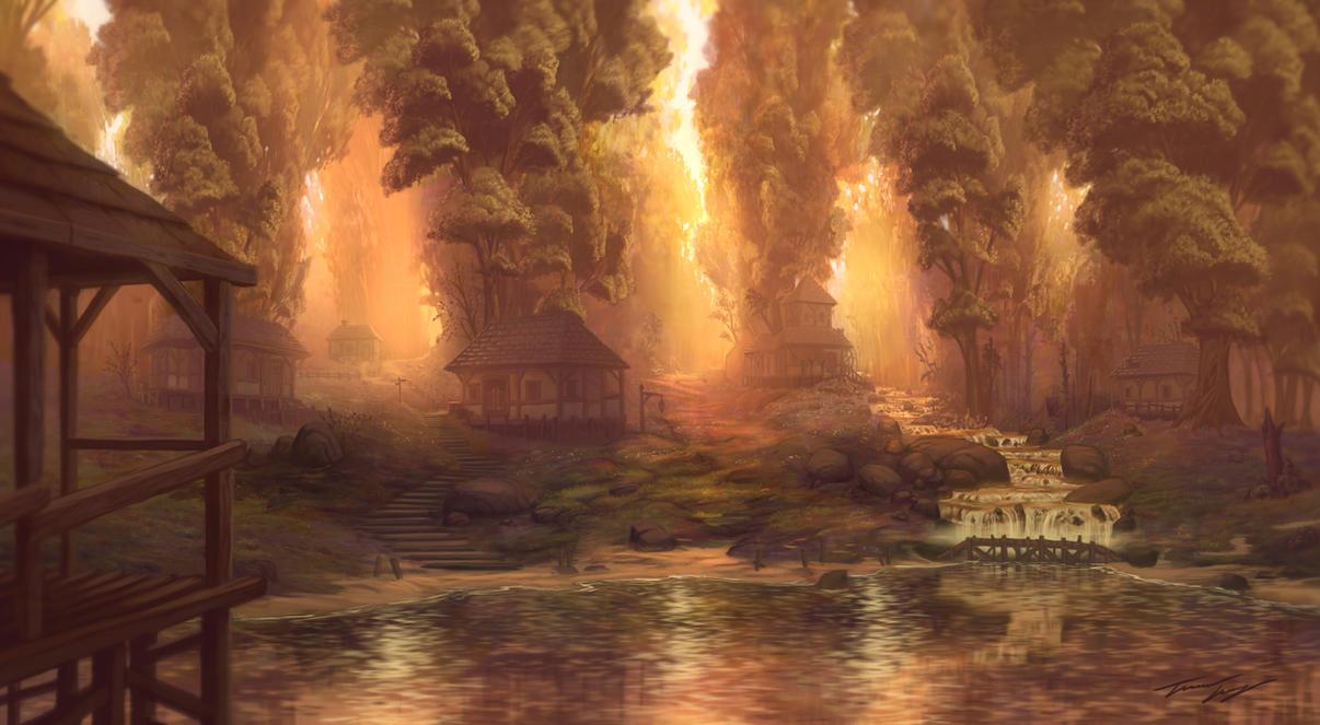 Biolumimiscent stagnum (Villa). Lake_side_village_by_ravenseyetravislacey-d5k2q0p