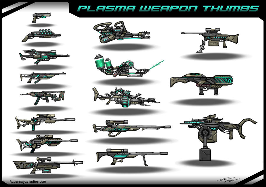 Plasma weapons concept thumbs by RavenseyeTravisLacey