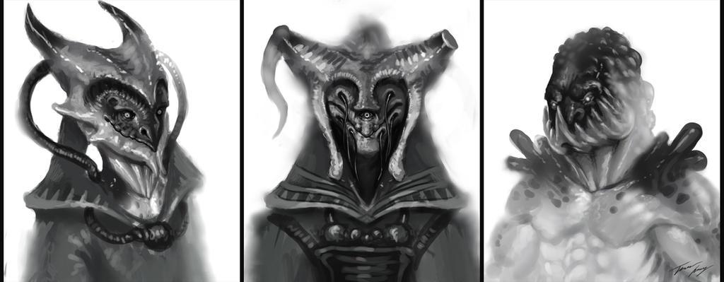 Alien sketches by RavenseyeTravisLacey