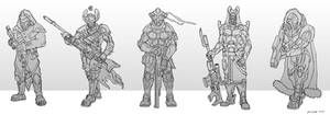 Sci fI Assult soldiers sketches