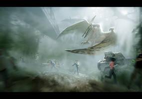 Jurassic Park: Pteradactyl Attack by RavenseyeTravisLacey