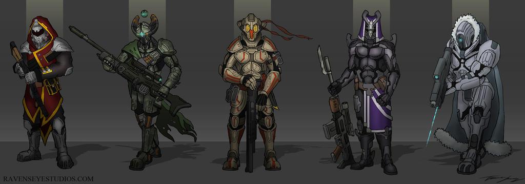 Sci fi bounty hunter concepts by RavenseyeTravisLacey