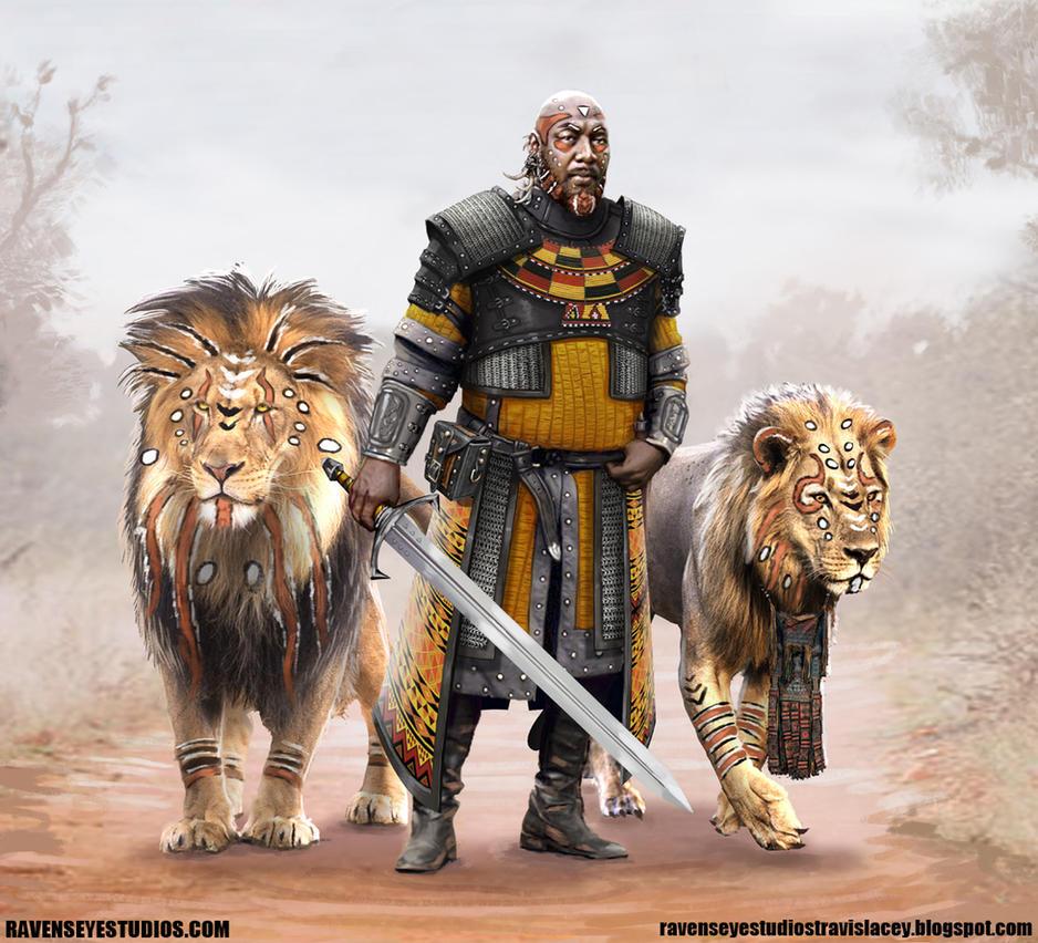 warrior among lions by RavenseyeTravisLacey