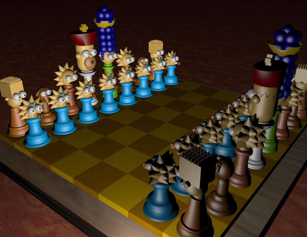 simpsons chess board by BuddyComics
