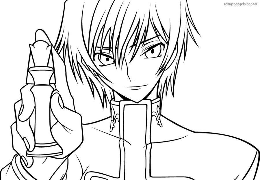 Coloring Book Code : Lelouch: Checkmate line art by zomgspongelolbob48 on DeviantArt