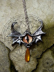 Silver bat eye pendant