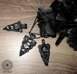 Polymer clay occult, gothic pendants by GothicRosettejewelry