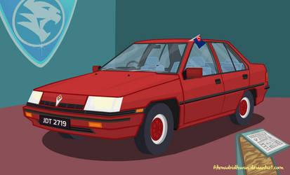 Proton Saga Cartoon Style With Showcase Place by ahmadridhwan