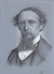 Charcoal Drawing: Portrait (Charles Dickens)
