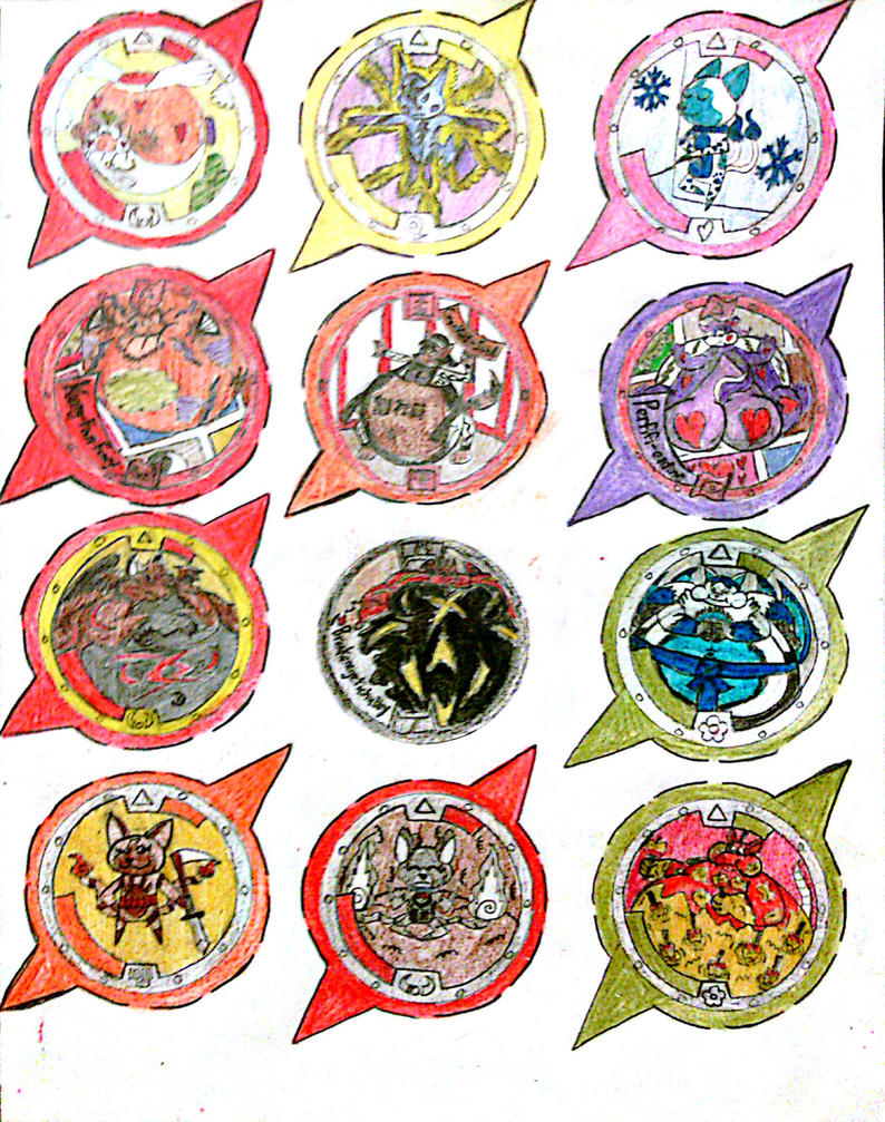 how to draw yo kai medals