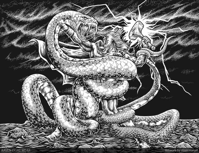 Thor vs Jormungandr by alamhanafi on DeviantArt