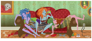 Three Drunken Girls on a Couch by rosalarian