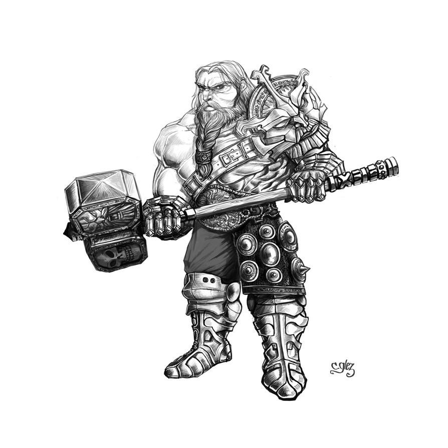 Dwarf with warhammer by CeGeA on DeviantArt