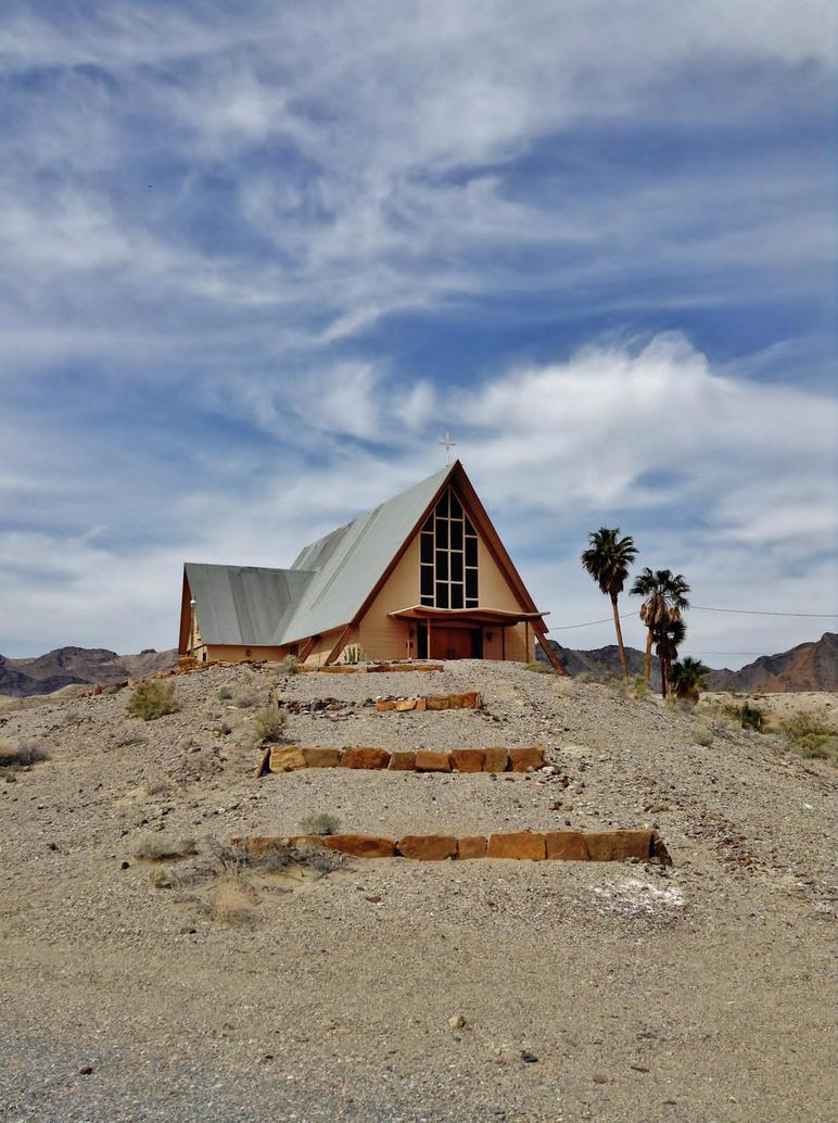 Hilltop Catholic Church in Desert by AthenaIce