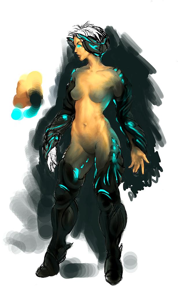 cyborg girl sketch by Aberiu
