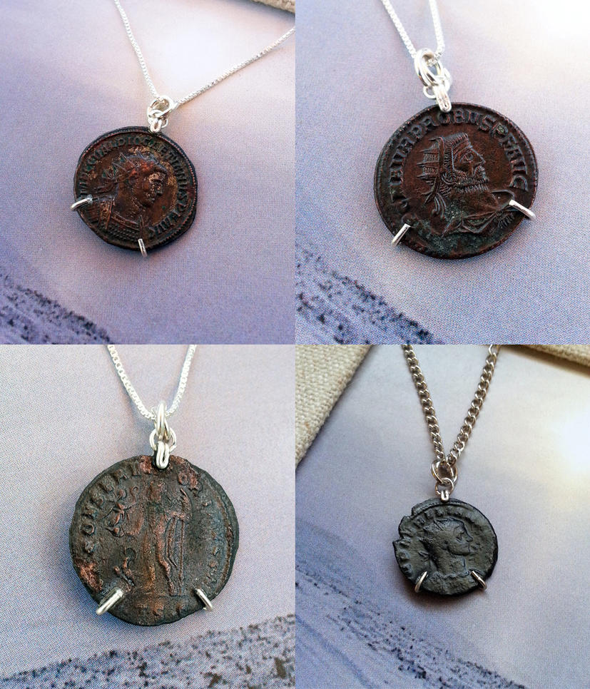 pendant bringing decorative italy to history necklace s roman volusiano framed pin silver coin in