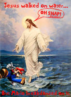 Jesus gets pwnd by Mario.