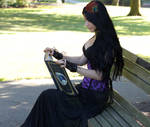 Stock - Gothic Lady In Corset Reading