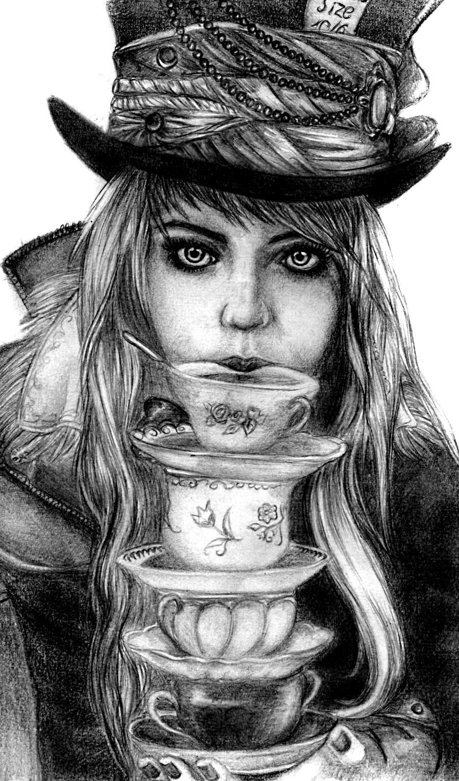 Mad hatter hat burton drawing
