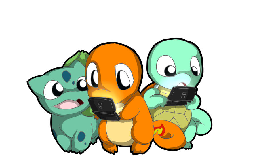 Charmander, Squirtle, and Bulbasaur playing the Ds by ...