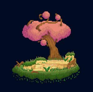 PIXELART Rose tree