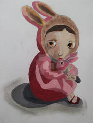 Imitation of Nicoletta Ceccolis Girl with Bunny