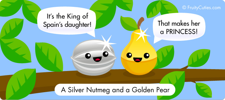 A silver nutmeg and a golden pear by fruitycuties on - Fruity cuties jokes ...