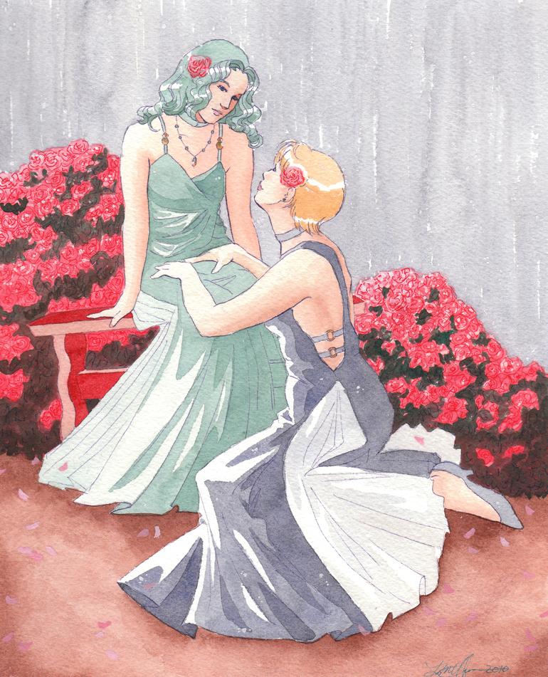 Uranus and Neptune and Roses by KoriMichele