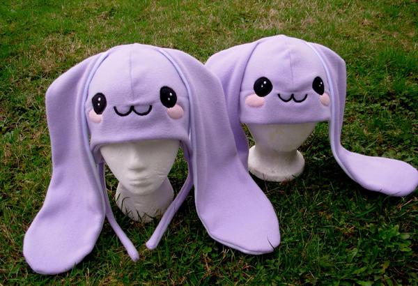 Fleece bunny hats by The-Cute-Storm