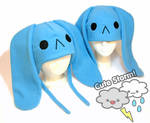 Sad blue bunny hat
