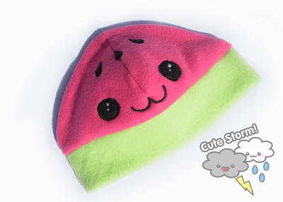 Kawaii watermelon hat by The-Cute-Storm