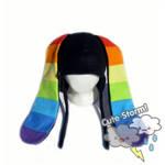 Black Rainbow Bunny Hat