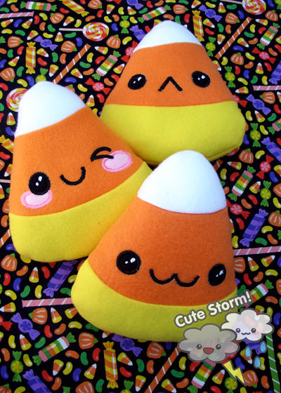 Kawaii Candy Corn Plushies by The-Cute-Storm
