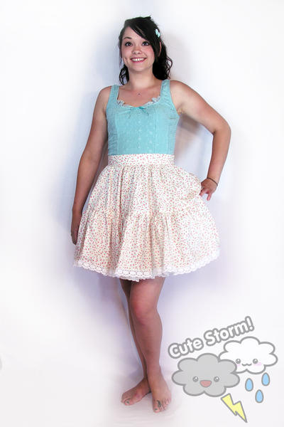 Sweet peaches and cream tiered lolita skirt by The-Cute-Storm