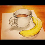3D Illusion Coffee and Banana