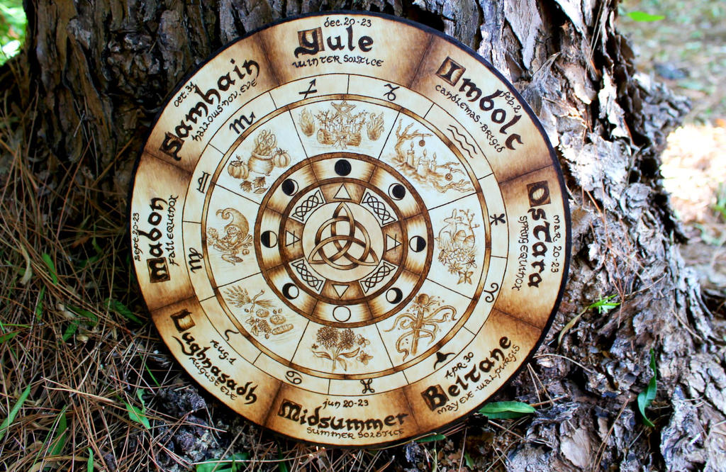 Celtic Calendar Wood : Pyrography pagan wheel of the year by skjaldmaerpyrography