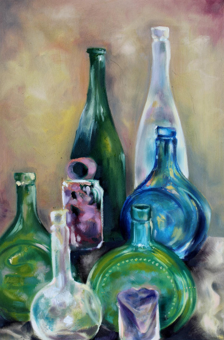 still life with colored glass bottles by olivewhale - Colored Glass Bottles