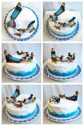 Dog sledding cake