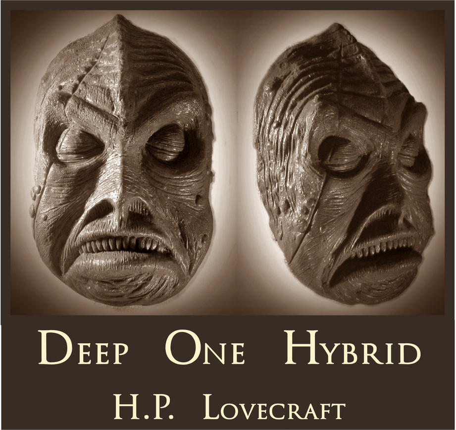 H.P. Lovecraft - Deep One Hybrid Death Mask by zombiequadrille