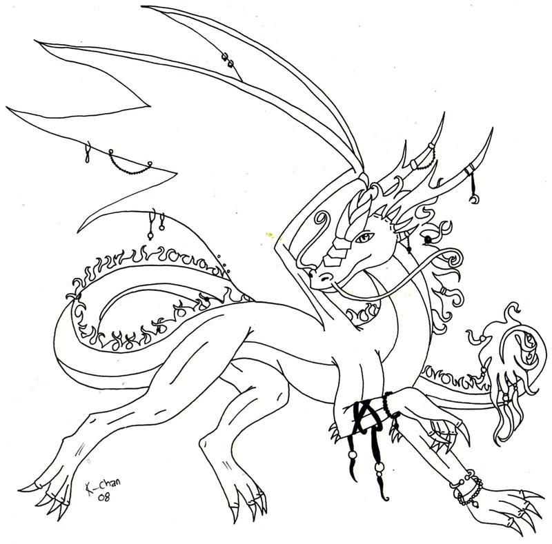 Simple Dragon Line Art : Simple line art dragon