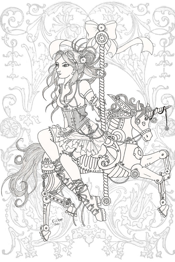 steampunk girl coloring pages - photo#23