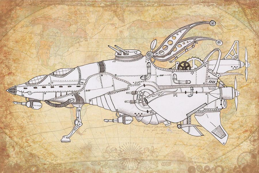 Steampunk Airship Sketch by Karla-Chan